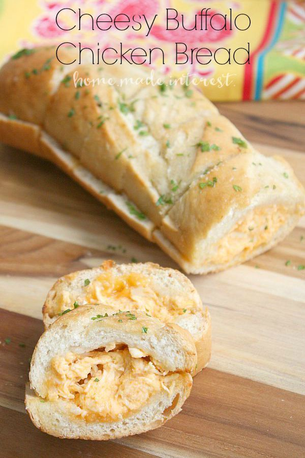 Spicy, cheesy Buffalo chicken dip stuffed into a buttery french baguette. Great party food and perfect for feeding friends on game day.