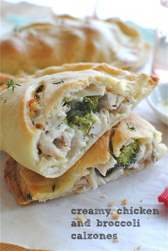 Creamy Chicken & Broccoli Calzones {leave the meat out for the vegetarians, or sub tofu} | Bev Cooks