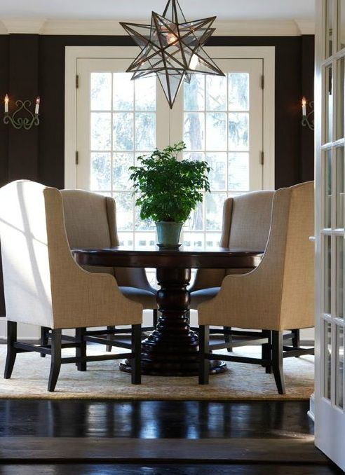 Sage Design: Elegant dining room with chocolate brown walls paint color, French