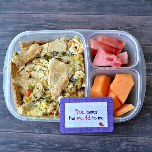 Leftovers for lunch! #Leftover chicken pot pie, watermelon and cantaloupe.