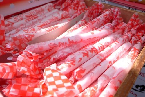 "Chitose Ame  Chitose Ame (千歳飴), literally ""thousand year candy"", is given to children on Shichi-Go-San. Chitose Ame is long, thin, red and white candy, which symbolizes healthy growth and longevity. #ShiChiGoSan #ShiChi #Go #San"