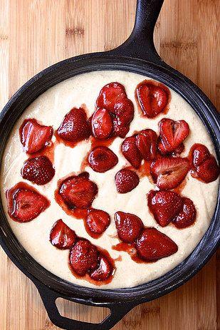Roasted Strawberry Skillet Cake