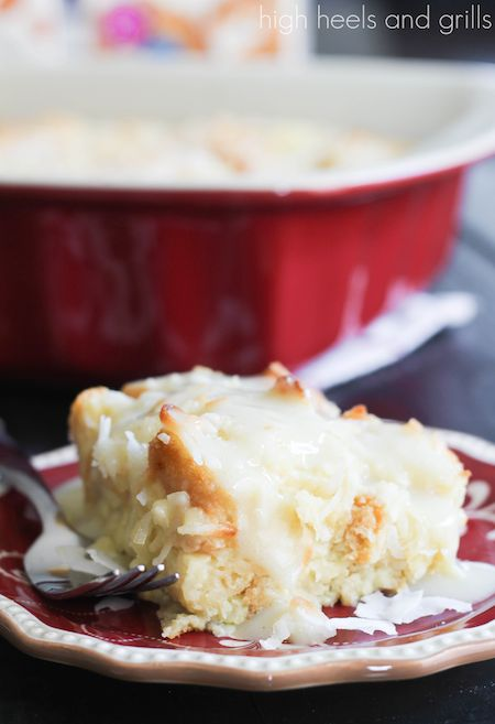Almond Milk Recipes: Coconut Bread Pudding with Coconut Cream Sauce - High Heels and Grills