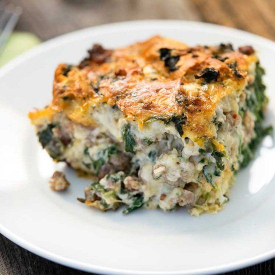 This Italian Sausage, Gouda and Spinach Strata is a make ahead breakfast that is a sure crowd pleaser. Made with day old sourdough bread!