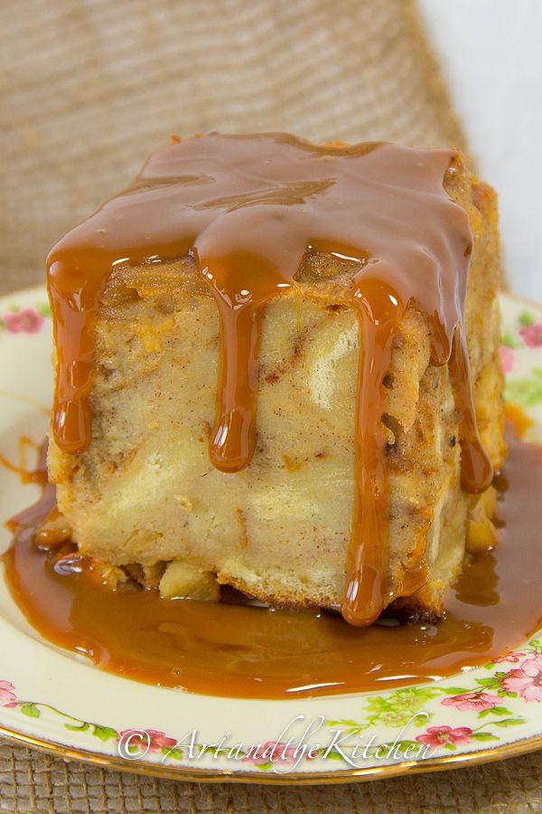 Delicious Apple Bread Pudding with Caramel Sauce (Dulce de Leche)