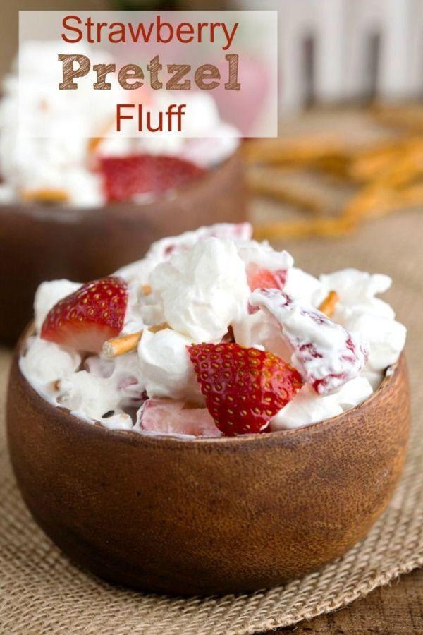 Strawberry Pretzel Fluff - tastes like Strawberry Pretzel Salad  but so much lighter and healthier!