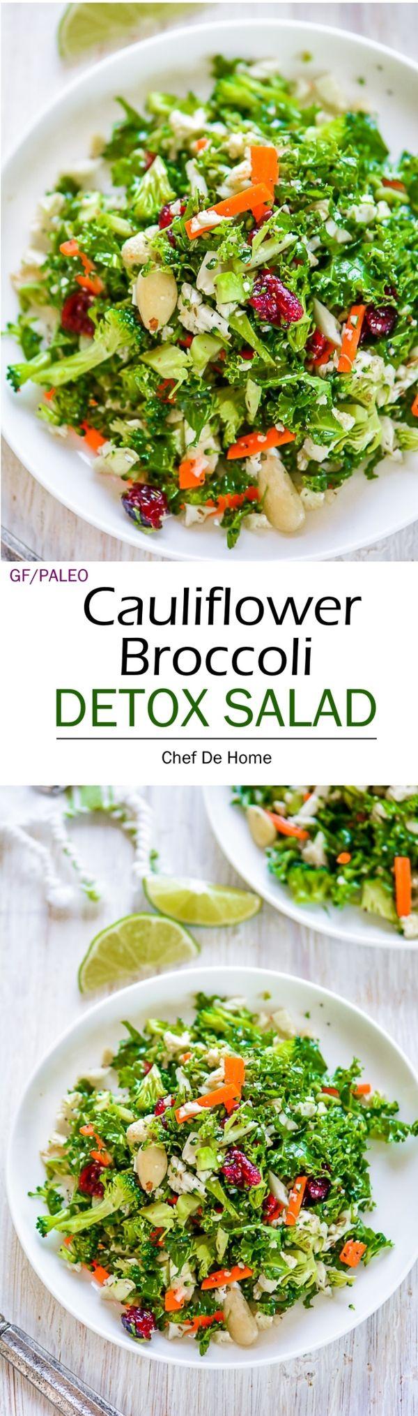 Cauliflower and Broccoli Detox Salad - Paleo carb-free broccoli detox salad loaded with crunchy broccoli, cauliflower, kale, and carrots, coated in a lemony ginger-oregano dressing.