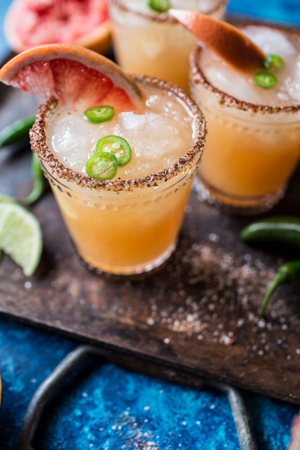Spicy grapefruit margaritas are made with a little twist that's SO delicious!
