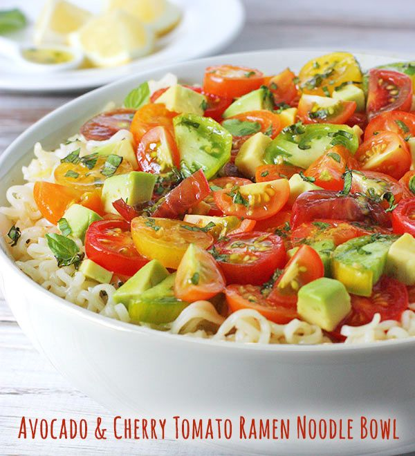 Avocado & Cherry Tomato Ramen Noodle Bowl with Lemon Basil Vinaigrette - a quick, healthy and refreshing summer meal!