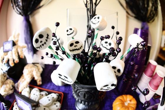 My son's 4th birthday with a Nightmare Before Christmas theme as photographed by avery and augustine blog. Food coloring markers on marshmallows with green paper straws to hold them up.