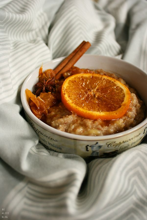 Becoming Alice: Millet Oatmeal with Caramelized Orange Ginger Compote