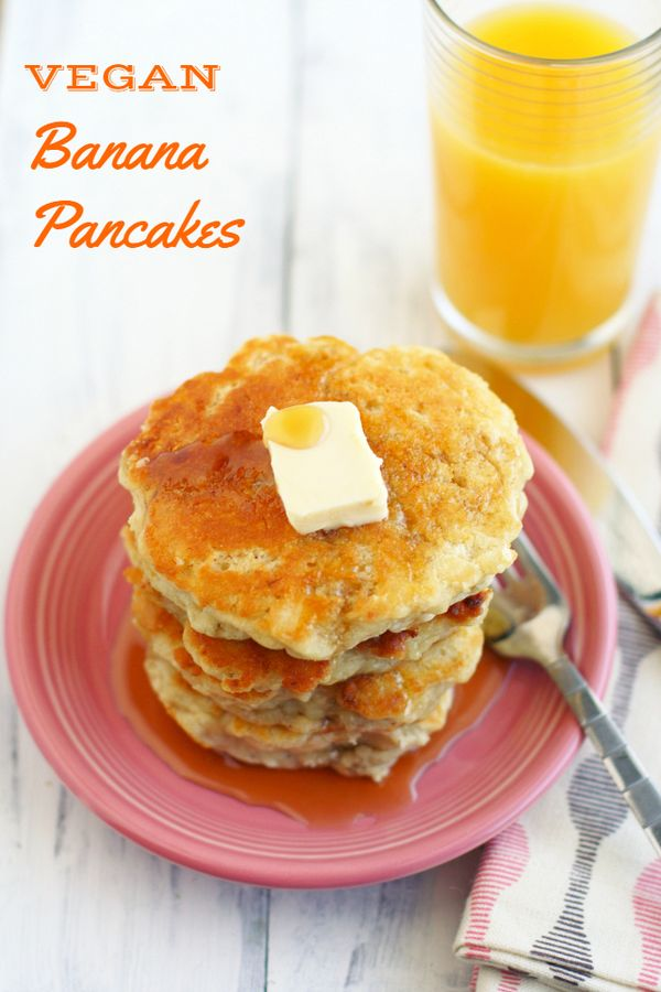 Light, fluffy, and flavorful vegan banana pancakes. A great way to start the day! #vegan