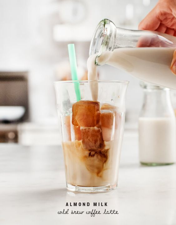 Almond Milk Cold Brew Coffee Latte - Homemade cold brew is easy to make yourself. Freeze it into convenient ice cubes that you can drop into your iced coffee or almond milk latte!