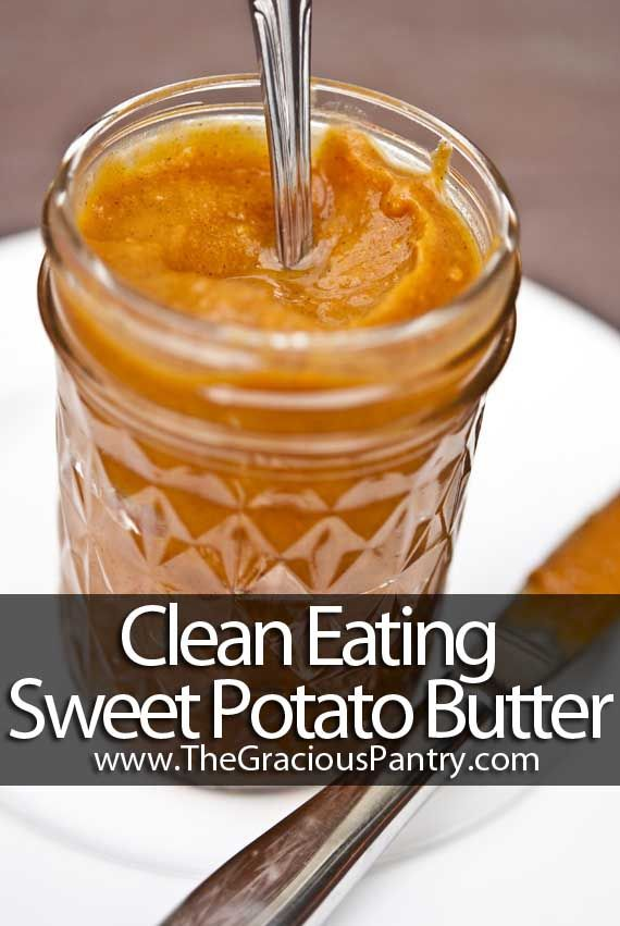 Clean Eating Sweet Potato Butter. So completely yummy. What a great way to start the morning! #cleaneating #cleaneatingrecipes #sweetpotatobutter #fruit