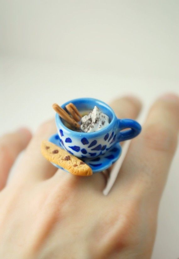 Cappuccino and Chinoiserie. Miniature Handmade Polymer Clay Jewelry. Ceramic Cup. Miniature Plated Food Jewelry. $30