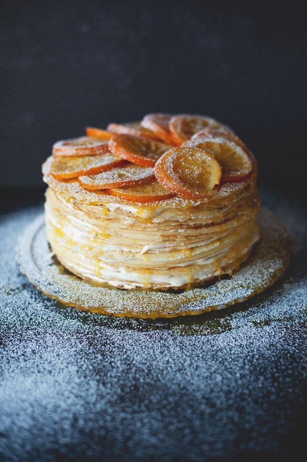 Michelles's (GF!) Crepe Suzette Cake I Hannah's Places - looks a little difficult, but looks a lot delicious