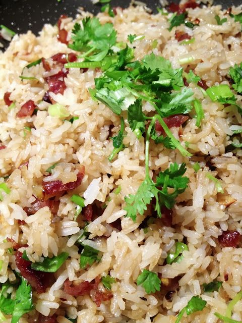 Garlic Fried Rice With Chinese Sausage, Scallions / Cilantro.