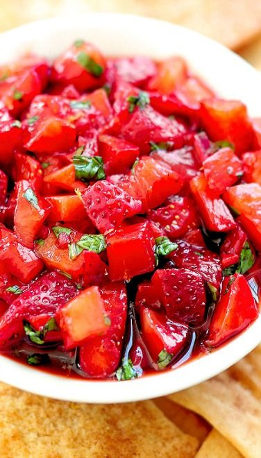 Strawberry Salsa: This was good; you can use mint instead of basil if you'd prefer.