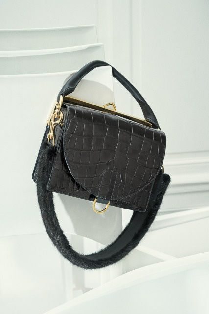 Sacai / Shoulder / Crossbody / Satchel / Black / Leather / Mink / Crocodile / MetalsInDesign
