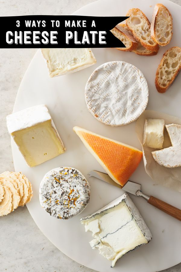 Three ways to organize your cheese plate. Tips: 1. Offer a selection of different styles of cheeses. Three to four options work, and plan on two ounces per person. 2. Let them breath. They should be served at room temperature. 3. Label them so your guests know what they're enjoying. 4. Purchase just a day or two before your event so they are at their best. 5. Different textures enhance the experience. Some favorites are crostini crackers, water crackers and the baguette.