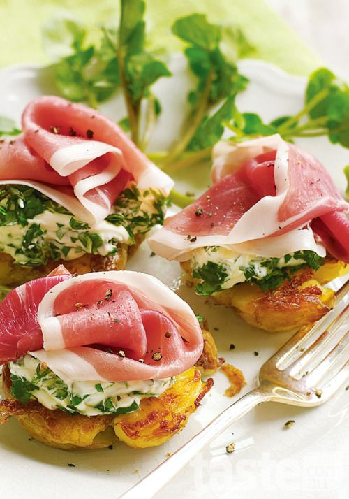 Smashed chat potatoes with garlic & herb cheese and prosciutto (click through the photo)