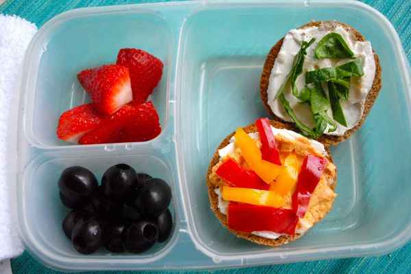 Lunch Box Ideas for Adults | Mini whole wheat bagel spread with vegan mayo, red bell pepper hummus ...