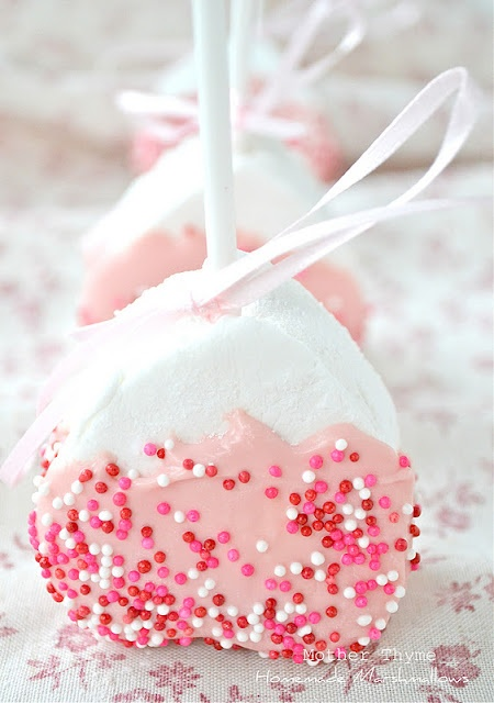 This blog also used the Gourmet recipe exactly, so no need to land here.  I did really like her end presentation though.  Heart shaped marshmallows on lollipop sticks dipped in pink chocolate with sprinkles.