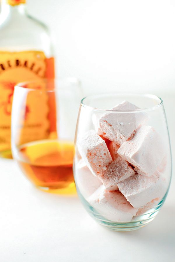 Homemade marshmallows with the spicy kick of the Fireball Whisky tucked within the sweet, sugary fluff.