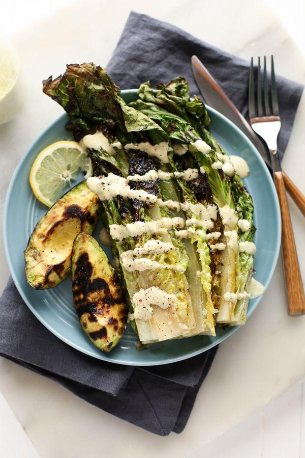 Grilled Avocado and Romaine Caesar Salad (Vegan, GF)