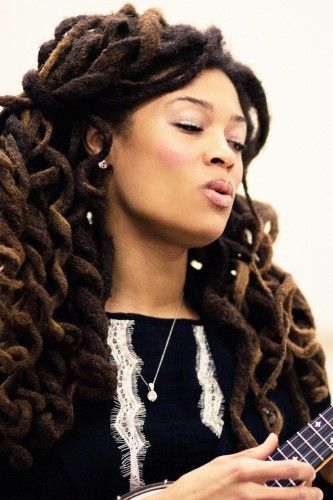 Thick, spiral curls locs hairstyle