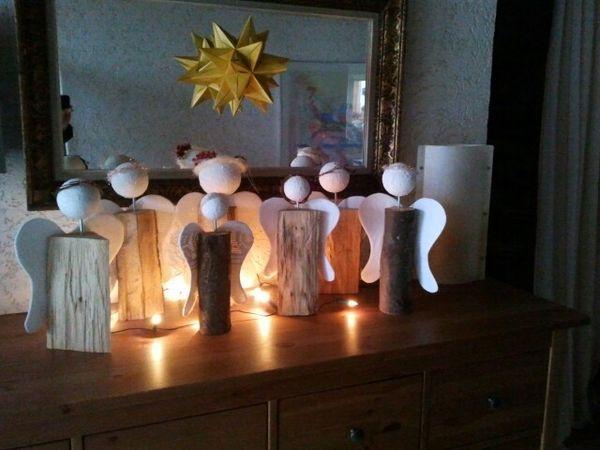 ... deko weihnachten basteln holzscheit deko landlust engel div basteln