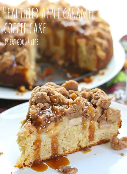 Healthier Apple caramel coffee cake. A lot less sugar, made with whole wheat pastry flour and healthier fats by Eat Good 4 Life