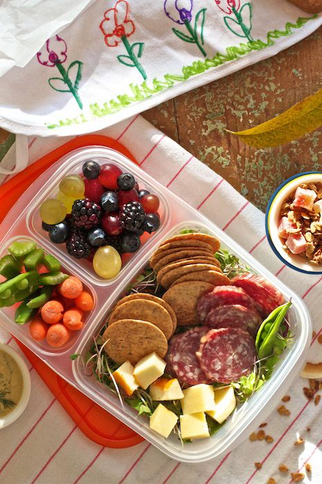 DIY Salami & Cheese Lunchable.  1 ounce unprocessed Cheese  1-2 ounces artisan Salami  some gluten free, low salt Rice Crackers (or any crackers you wish)  Leafy Salad Greens  cut & cleaned Veggies  fresh Fruit or Homemade Apple Sauce  homemade Granola or Muffins