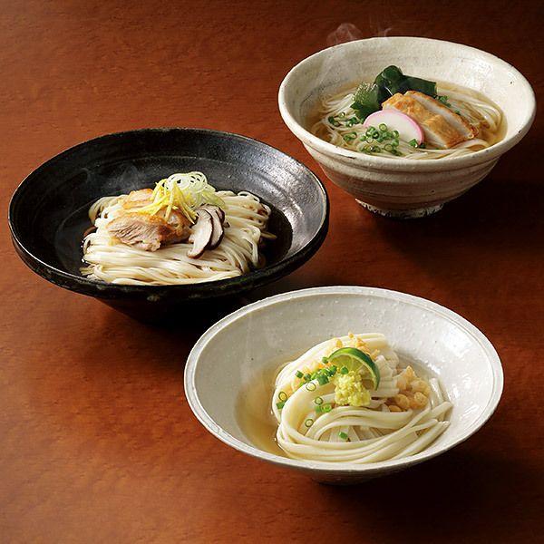 五島うどん、讃岐うどん、稲庭うどんの食べ比べを。【日本三大うどん・つゆ詰合せ】