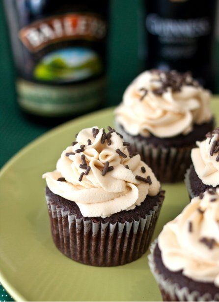 Chocolate Guinness cupcakes with Bailey's Irish Cream icing... I had a version of these for my fall wedding reception- Suffice it to say, they were divine! As foodie blogger Laura notes, she made hers without the whiskey ganache- I agree that they already have a lot going on & the ganache is skippable. Not so skippable... A Bailey's Irish cream on ice as accompaniment!