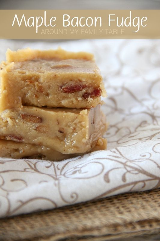Don't maple and bacon belong together?  It's like the perfect marriage!  Sweet & Salty!  Well...hold your horses because this MAPLE BACON FUDGE is the perfect addition to your gourmet fudge platter.