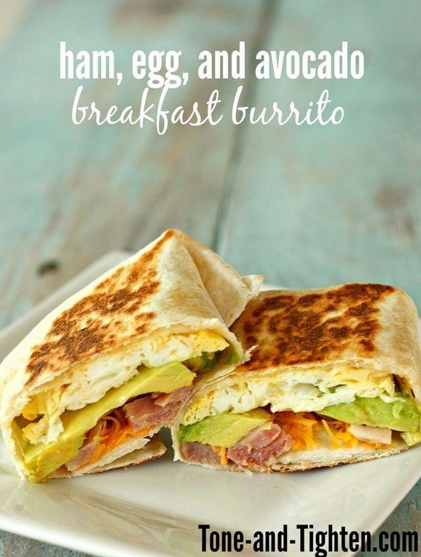 Ham, Egg, and Avocado Breakfast Burrito   27 Healthy On-The-Go Breakfasts Under 400 Calories
