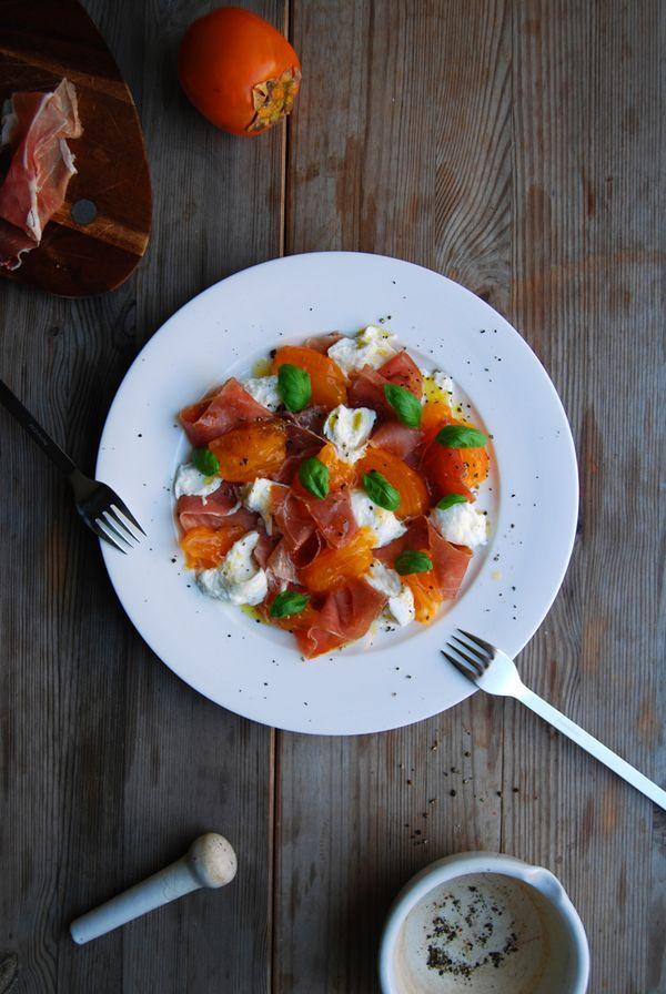 Persimmons, Mozzarella di Bufala, Prosciutto di Parma and Basil ° eat in my kitchen