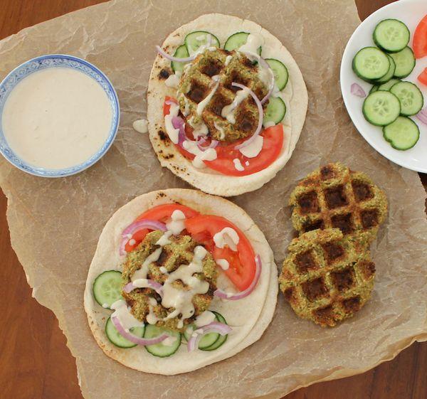 Waffled Falafel Sandwiches