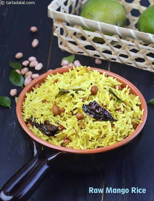 An evergreen favourite, the Raw Mango Rice is prepared in South Indian homes at least once a week when the mango season is on. A traditional tempering and partially cooked raw mangoes give this rice a tangy flavour and exciting crunch.  While red and green chillies are used to add spice to the rice, assorted dals and peanuts give it a tantalising aroma and interesting mouth-feel. Although used in small quantities, each ingredient including til oil and asafoetida leaves a mark on the final outcom