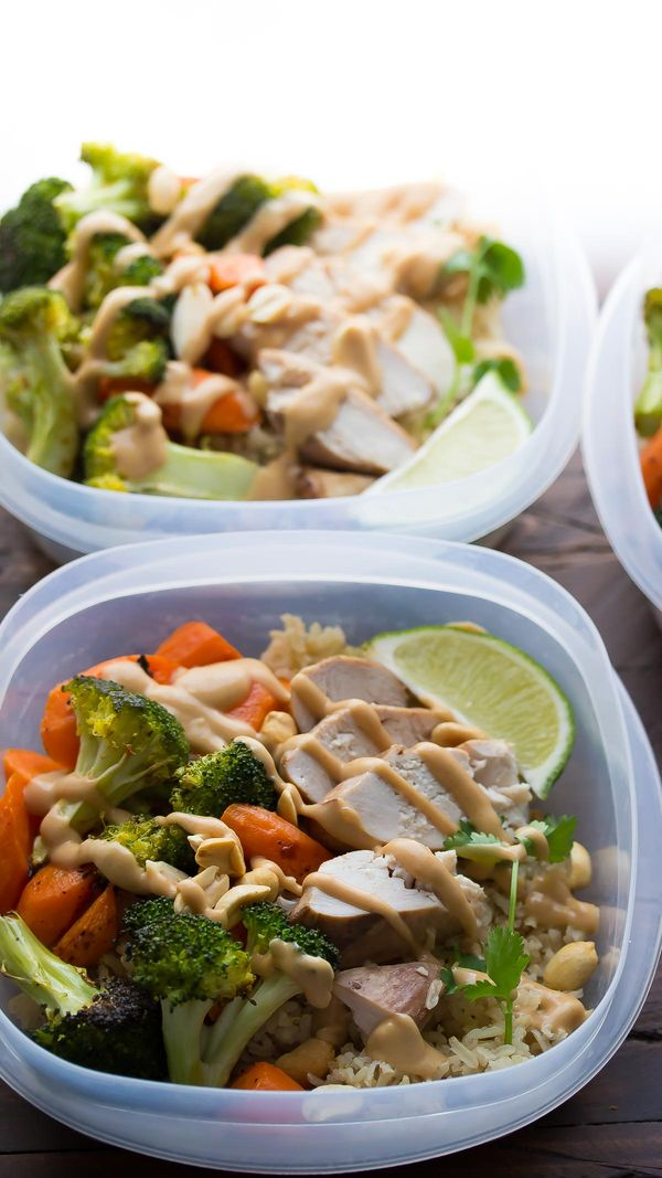 Peanut Lime Chicken Lunch Bowls, an easy make-ahead lunch recipe that you can grab on your way out the door!