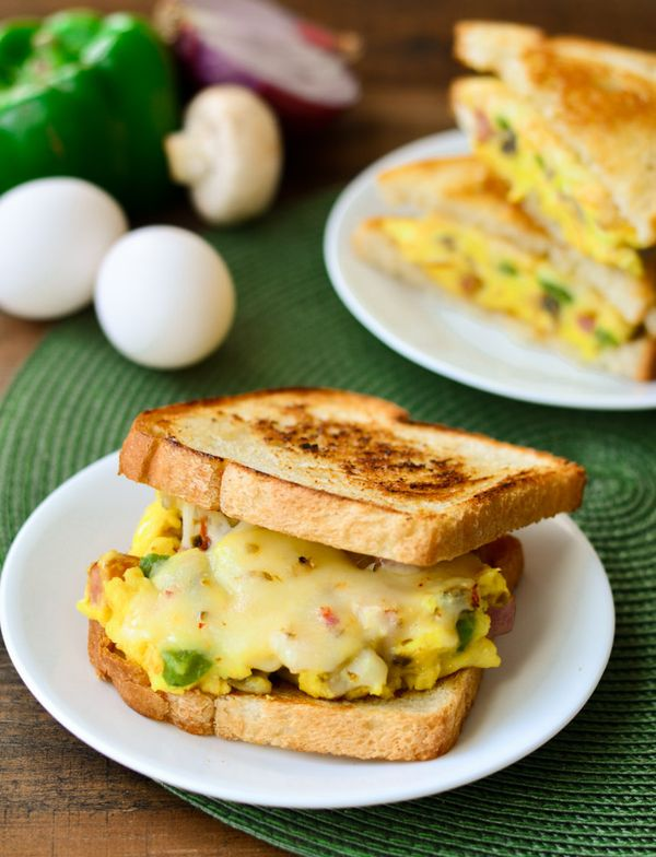 Denver Omlet Sandwich: It is fun to have breakfast food for lunch and dinner