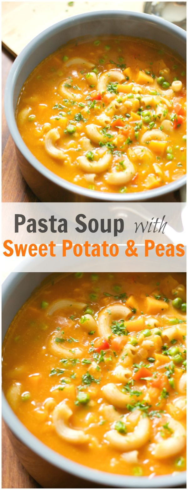 This Pasta Soup with Sweet potato and Peas is a great recipe for fall. This filling soupis full of fibre, low in fat and is a quick-and-easy go-to meal! primaverakitchen.com