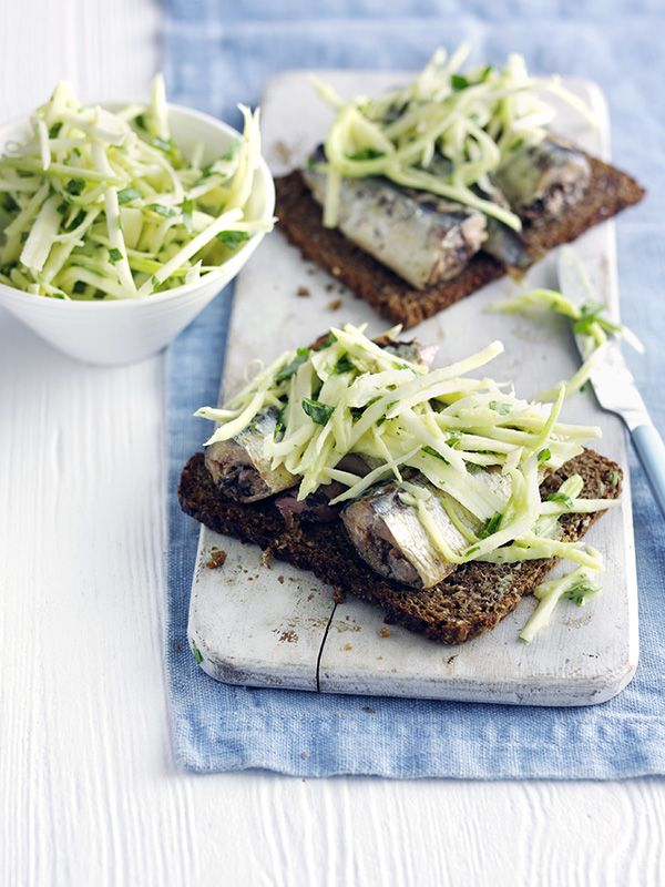 Celeriac and sardine toasts: This celeriac and sardine toasts recipe is quick and easy and under 300 calories - perfect for midweek