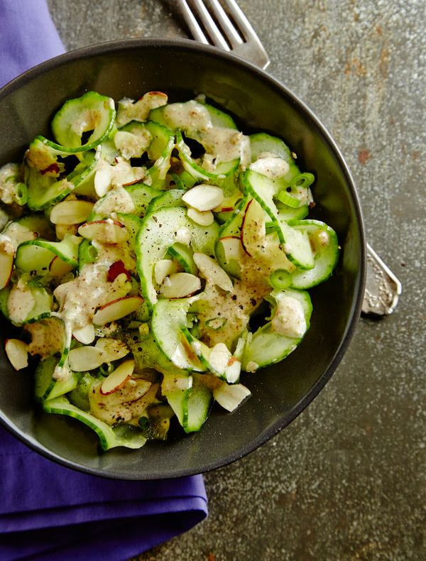 Cucumber Salad with Almond Butter Dressing Recipe. A healthy salad for any passover meal.