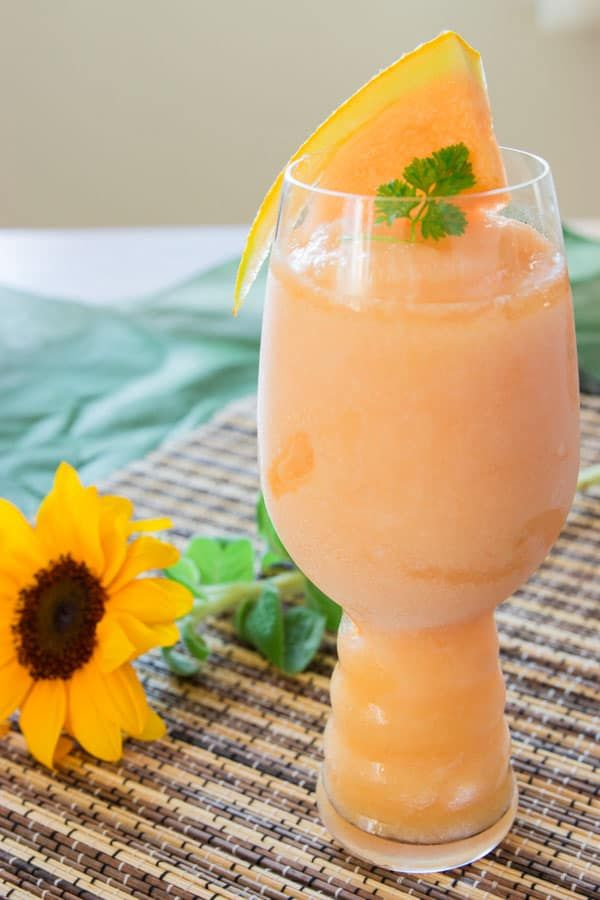 Frozen white peach and melon sangria, easy to make and perfect for summer.
