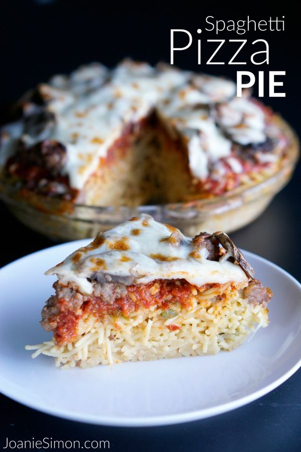 Spaghetti Pizza Pie - a easy family-friendly recipe that turns spaghetti into a crust topped with pizza toppings