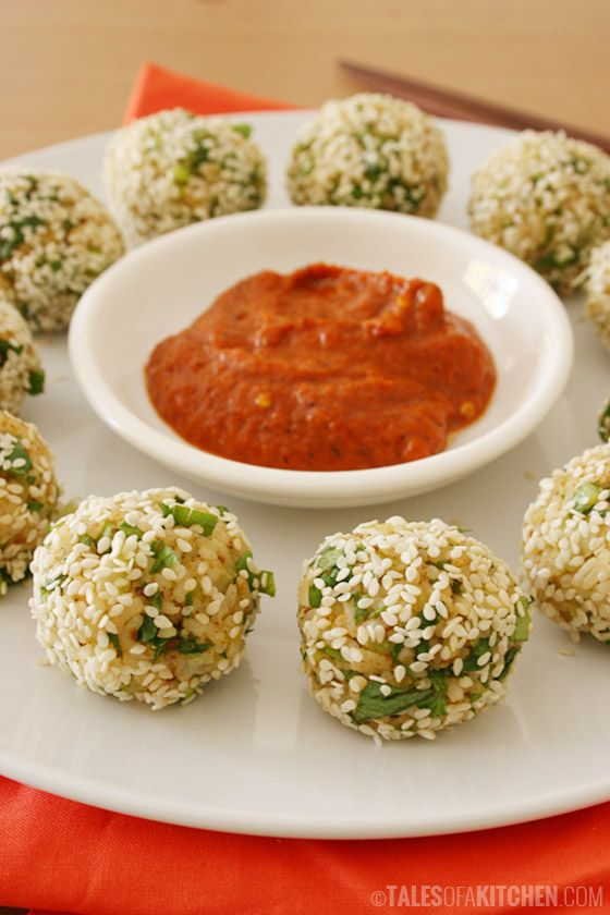 Vegetable rice balls with greens, tahini and spices, wrapped in sesame seeds. Great way to use leftover rice. (Plus a Women's Day Giveaway!)