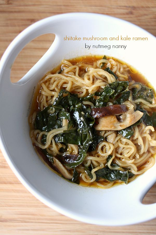 Shiitake Mushroom and Kale Ramen Noodle Recipe. Click for 20 more easy Ramen Noodle Recipes!