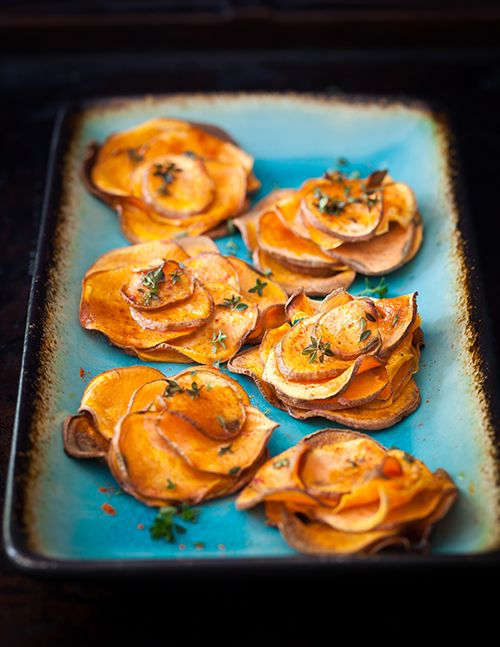 Sweet Potato Roses with Fresh Thyme
